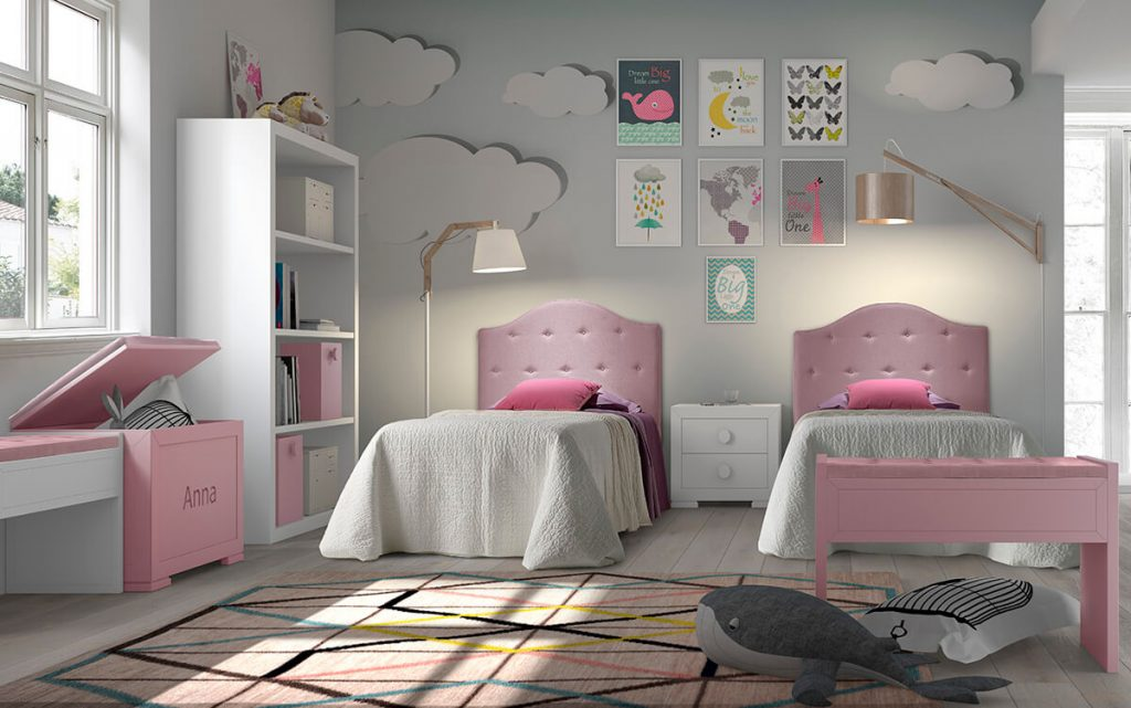 Dormitorio_infantil_dos_camas_cabecero_tela_Jun_Granada