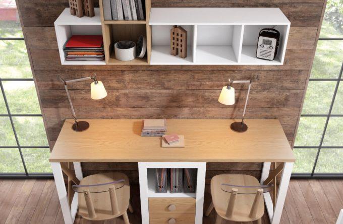 Escritorio de oficina para dos y estantes Baza Granada