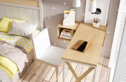 mesa y silla de escritorio en madera 2 tonos
