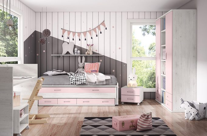 Dormitorio juvenil femenino de pared