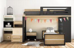 cama con litera y zonas de almacenaje
