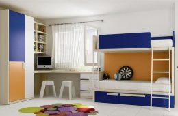 Dormitorio juvenil con literas dos colores