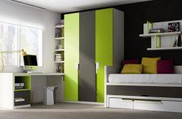 Dormitorio juvenil con armario 3 puertas esquinero