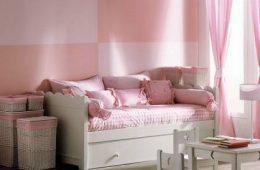 cama de niña con almacenaje y cojines