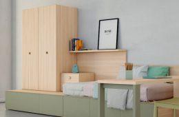 mueble cama con armario y escritorio