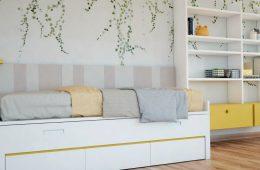 cama con almacenaje y estanteria