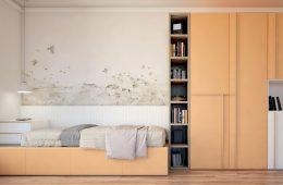 mueble cama con armario y zona de lectura