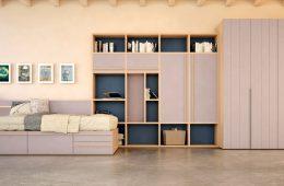 cama nido con estanteria y armario ropero