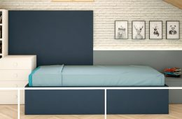 estanteria con cama y cabecero de pared