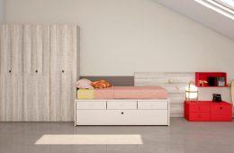 escritorio de pared con cama nido y mesita noche