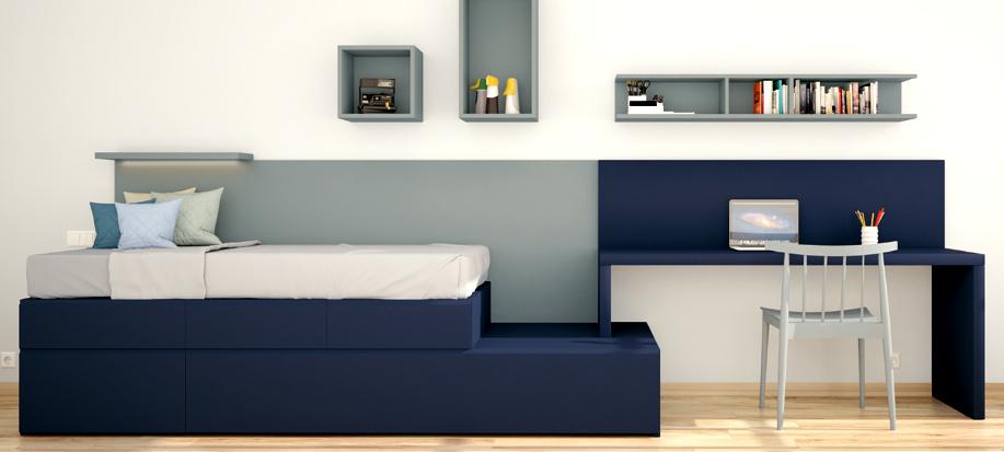 escritorio con cama nido y estantes estilo marino