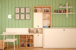 escritorio con cama plegable y estanterias