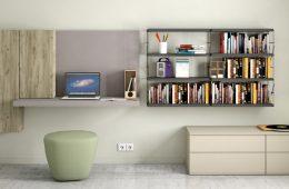 escritorio colgante de pared con mueble y estante